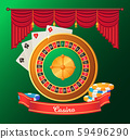 Gambling Objects, Roulette and Chips, Game Vector 59496290