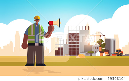 male builder holding megaphone busy workman using loudspeaker making announcement industrial worker 59508104