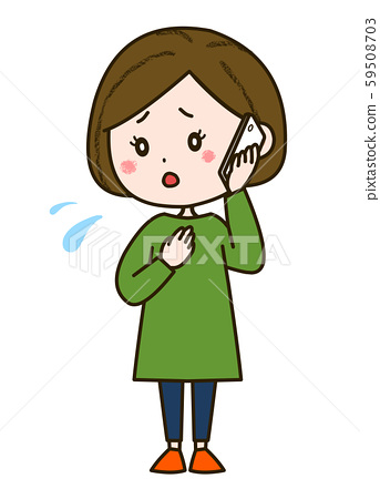 Illustration of a woman making a worried phone call pose 59508703