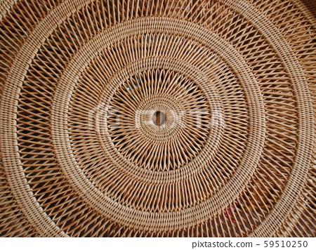 Circular weave rattan pattern Round Rattan Furniture Background Brown Texture Close-Up, Weave Rattan Texture And Background 59510250