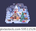 Holidays Christmas Village Night Scene with Church 59511526