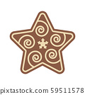 Christmas Star Shape Gingerbread Flat Design Icon 59511578