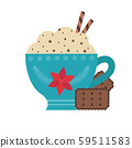 Hot Chocolate in Cup and Cookies Icon 59511583