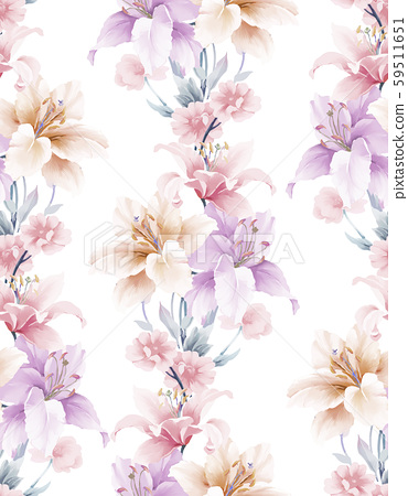優雅美麗的水彩玉蘭花和無縫模式 59511651