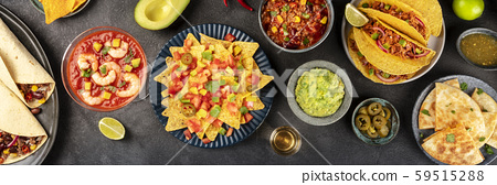 Mexican food overhead panoramic shot, many dishes of the cuisine of Mexico, flatlay on a dark 59515288