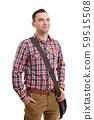 Casual man in plaid shirt and a shoulder bag 59515508