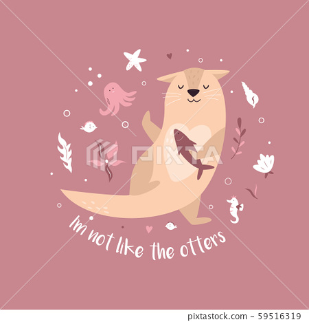 Funny poster with adorable dancing otter and text 59516319