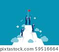 People standing on mountain peak with winner flag. 59516664