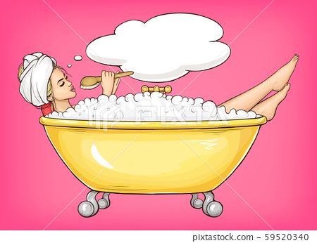 Young woman singing in bathtub 59520340