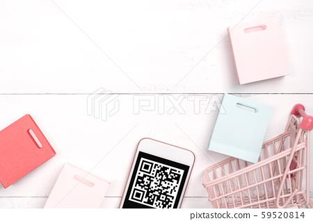 購物頂視圖白色手持機購物手機平躺購物 59520814
