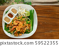 Pad Thai Asian food with copy space.Thai traditional noodle stir fry with prawn over banana leaf. 59522355