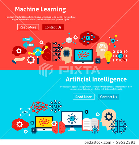 Website Machine Learning Banners Stock Illustration 59522593 Pixta