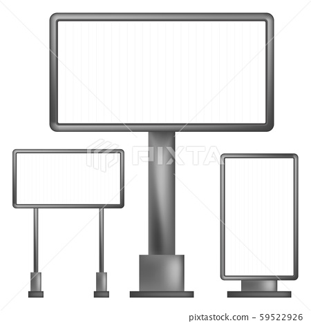 Set of realistic outdoor billboard and business advertising isolated on white background. 59522926