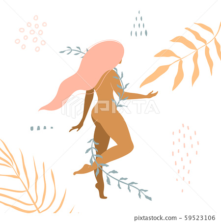 Beautiful nude woman with floral ornaments apparel print design. 59523106