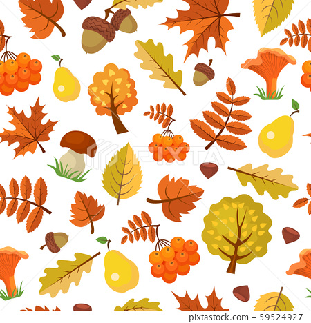 Autumn leaves pattern. Forest yellow fall beautiful season vector seamless background of autumn 59524927
