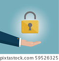 businessman's hand holding Lock. Real estate, car sale, rent apartments or house concepts. Flat design vector illustration isolated on blue background. 59526325