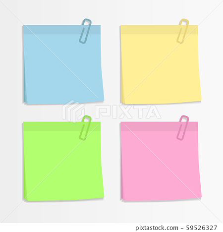 Set Of Four Colorful Sticky Notes and paper clips. ready for your message. Memo notes icons. Realistic vector illustration. Isolated on white background. Front view. Close up. 59526327