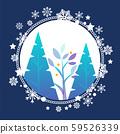 Fir Trees in Circle of Snowflakes, Winter Season 59526339