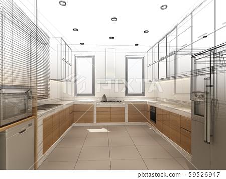 abstract sketch design of interior kitchen ,3d 59526947