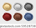 Vector 3d Realistic Vintage Retro Stamp Wax Seal Icon Set Closeup Isolated on Transparent Background 59528738