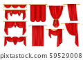 Set of isolated open red curtain for theater,opera 59529008