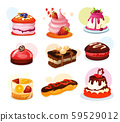Set of isolated cake piece or biscuit, jelly 59529012