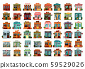 Set of isolated shop facade or store buildings 59529026