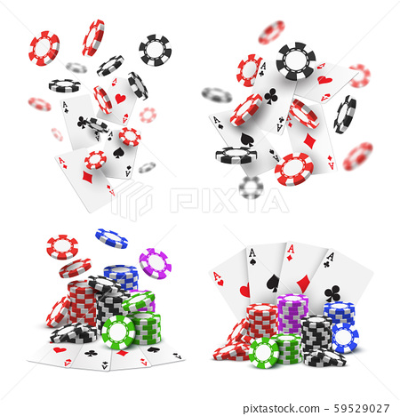Set of isolated flying poker chips and aces cards 59529027