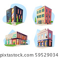 Set of isolated buildings for food, drink. Bar. 59529034