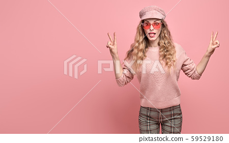 Fashion fun happy blonde woman, Trendy pink outfit 59529180