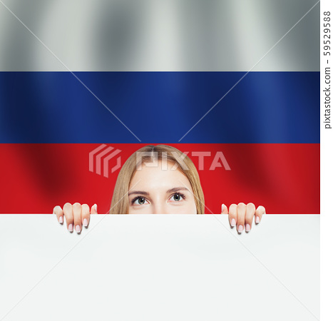 Russia concept with happy woman student  59529588