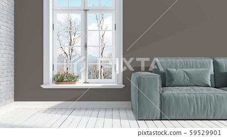 Modern bright interior . 3D rendering 59529901