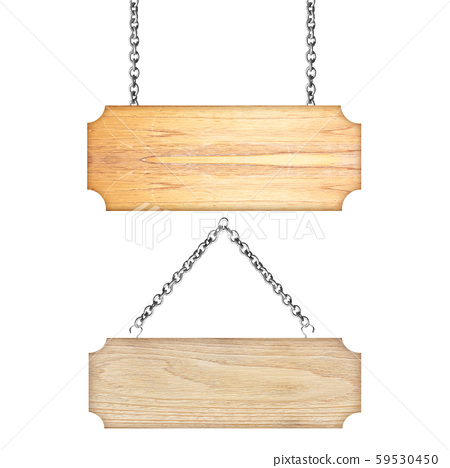 Wooden sign hanging on a chain isolated on white 59530450