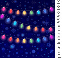 vector realistic lantern garland on dark night sky background with snowflakes 59530803