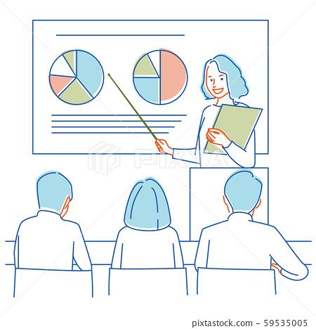 研討會女講師線描3種顏色 59535005