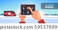 santa claus hands using tablet computer online mobile app merry christmas happy new year winter 59537699