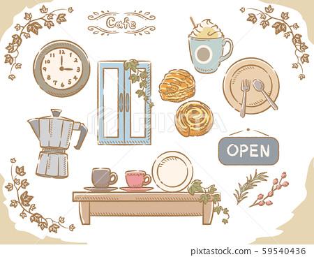 咖啡廳和麵包的材料集。 59540436