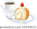 Image illustration of roll cake and coffee with strawberries 59540615