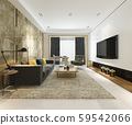 3d rendering luxury and modern living room with fabric sofa 59542066