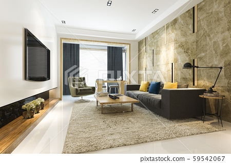 3d rendering luxury and modern living room with fabric sofa 59542067