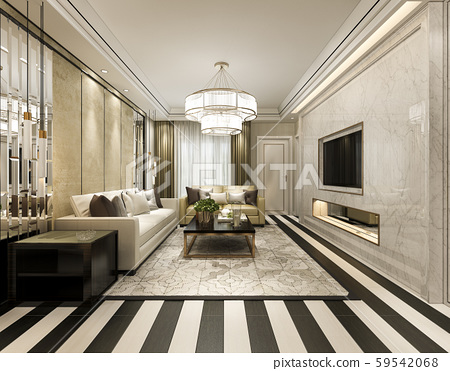 3d rendering modern classic living room with luxury decor and stripe floor 59542068