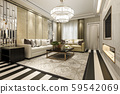 3d rendering modern classic living room with luxury decor and stripe floor 59542069