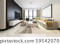 3d rendering luxury and modern living room with fabric sofa with mock up frame 59542070