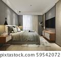 3d rendering beautiful loft minimal vintage bedroom 59542072