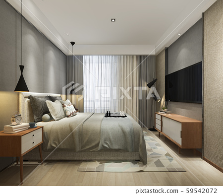 3d rendering beautiful loft minimal vintage bedroom 59542072