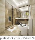 3d rendering modern bathroom with luxury tile decor 59542074