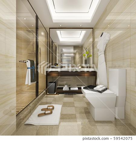 3d rendering modern bathroom with luxury tile decor 59542075