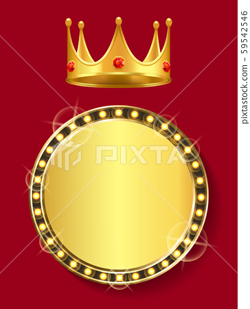 Golden Banner with Empty Space Crown with Gem 59542546