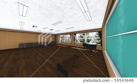 School Music Room No Chairs No People Illustration 54