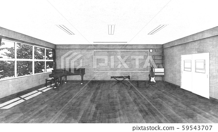 School Music Room No Chairs No People Illustration 46